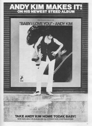 Andy Kim - Baby I Love You ad from 1969