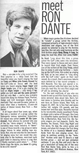 16 Magazine, Ron Dante 04/70
